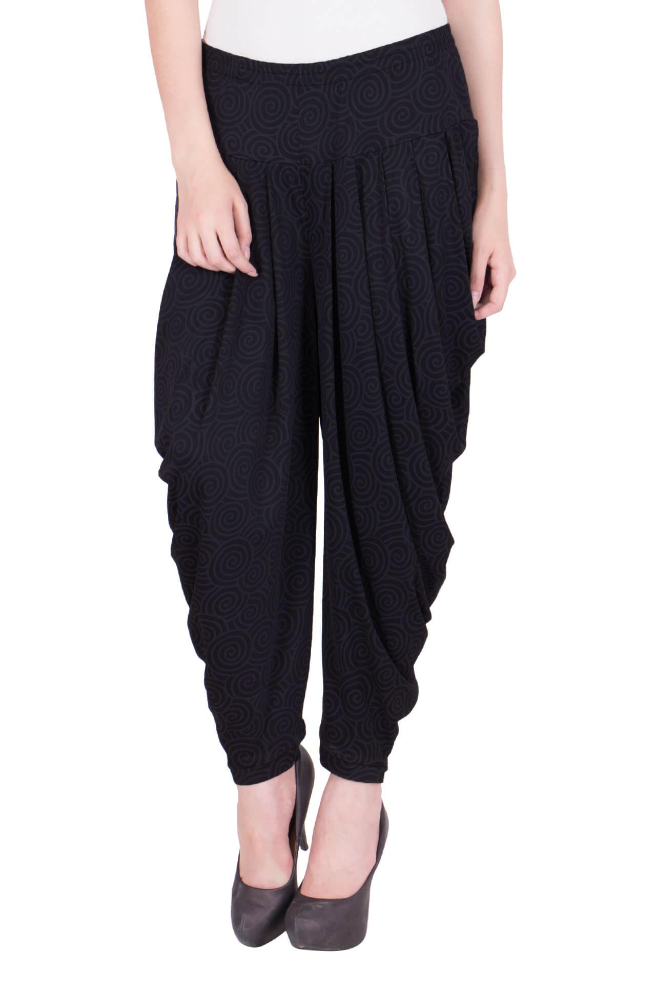 c0e3e6943 Black Geometric Printed Dhoti Harem Pants for Girls   Women – Zubix ...